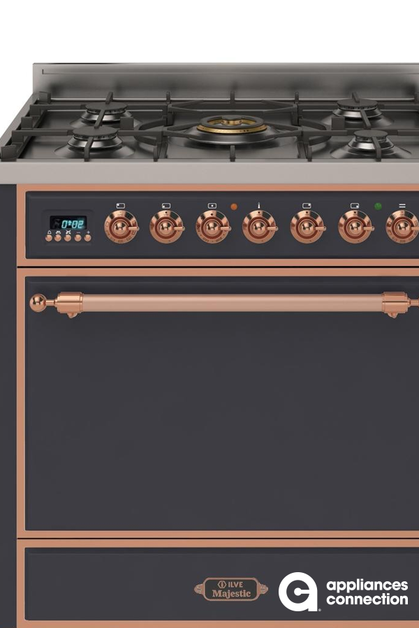 Majestic Series 30 Inch Freestanding Dual Fuel Natural Gas Range with 5 Sealed Burners, 3 cu. ft. Total Oven Capacity, Convection Oven, Continuous Grates, Warming Drawer, Electronic Ignition in Matte Graphite with Copper Trim  #kitchenappliances #homeappliances #homedesign #homedecor #homeideas #homedesignideas #kitchenideas #kitchendecor #kitchendesign #bestkitchens #besthome #appliances