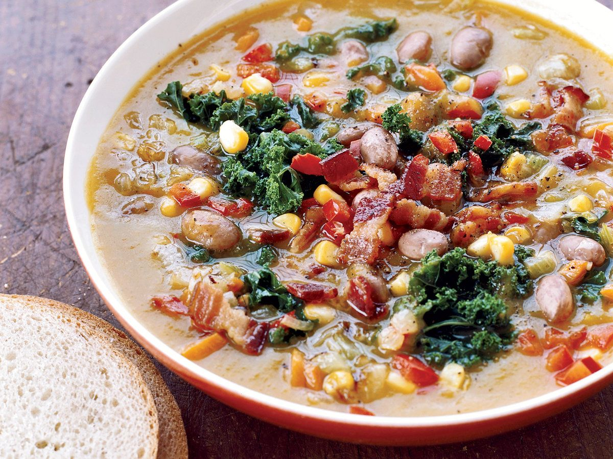 Butternut Squash Soup The Good News Adding Collard Greens Bell Pepper Cor Healthy Bacon Recipes Butternut Squash Recipes Soup Butternut Squash Soup Healthy