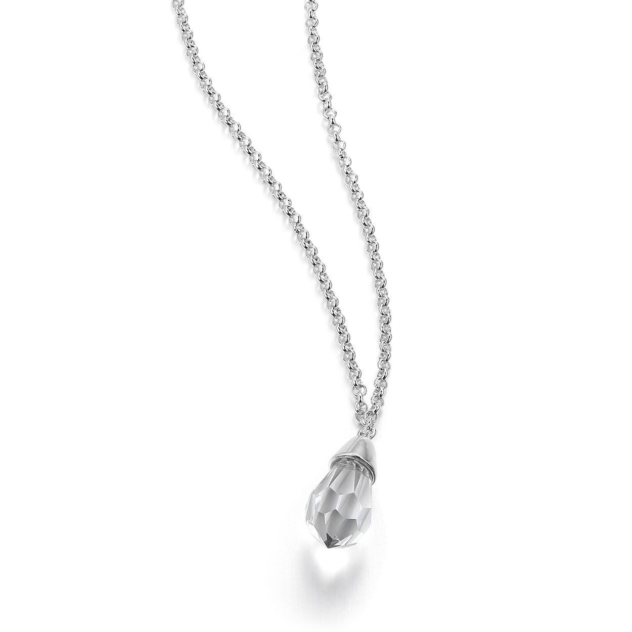 Starpoint Collection; Sterling Silver Set 16 in. + 2 in. Crystal CZ Pendant Necklace