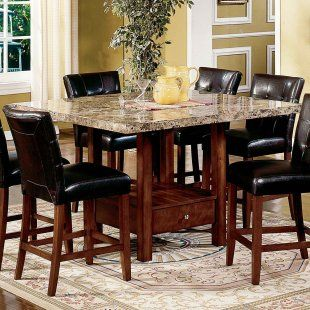 Beau Steve Silver Montibello 5 Piece Marble Top Counter Height Storage Dining  Table Set