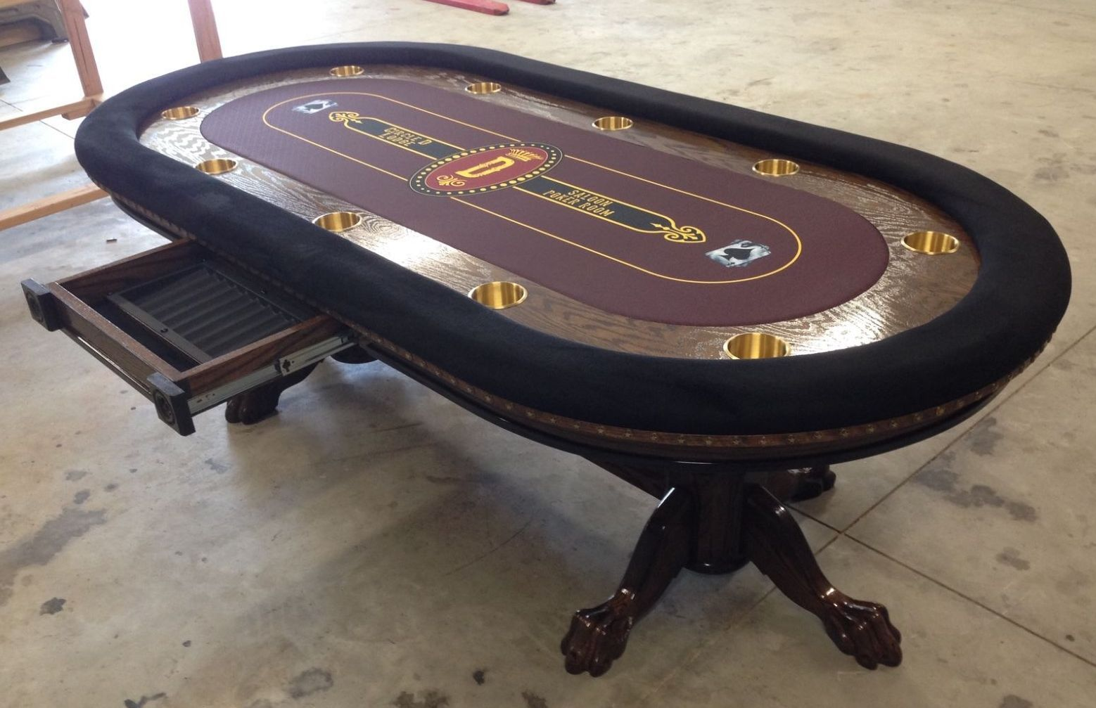 Poker Table Saloon Lounge Logo On Custom Felt Poker Table Custom Poker Tables Poker