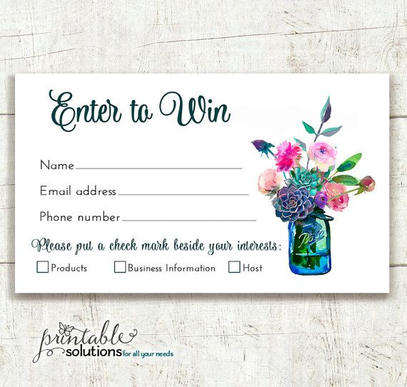 Direct Sales Prize Entry Ticket - Raffle Card - WIN Form - entry ticket template