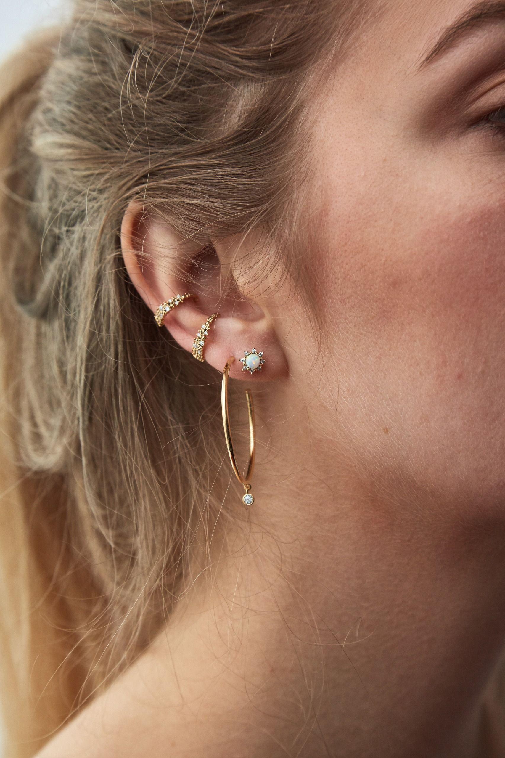 Women Charming Ear Stud,Baynne Rhinestone Filled Square Ear Stud Earrings