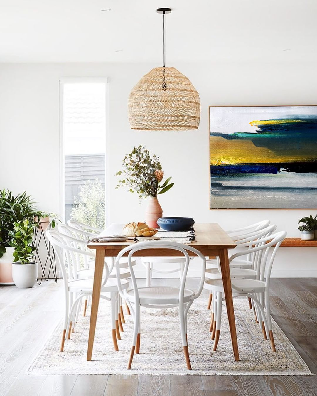 Contemporary Art Abstract Painting Original Blue Gold Painting Etsy In 2021 Scandinavian Dining Room Decor House And Home Magazine