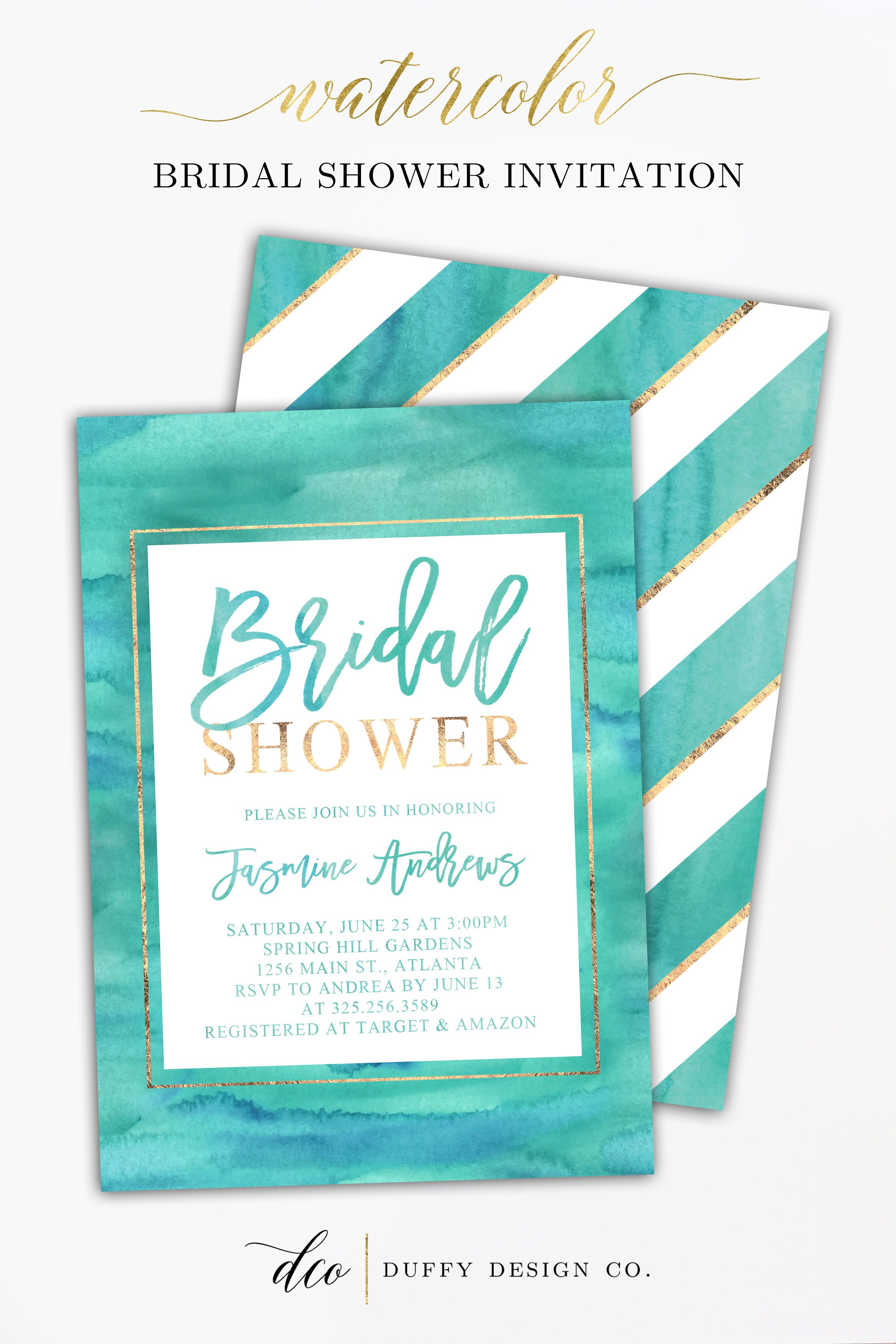 Bridal Shower Invitation, Bridal Shower Invite, Aqua Teal Gold ...