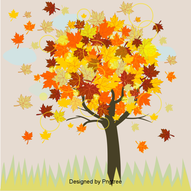 Simple Cartoon Autumn Material Design Autumn Woody Plant Maple Png And Vector With Transparent Background For Free Download Simple Cartoon Free Graphic Design Material Design