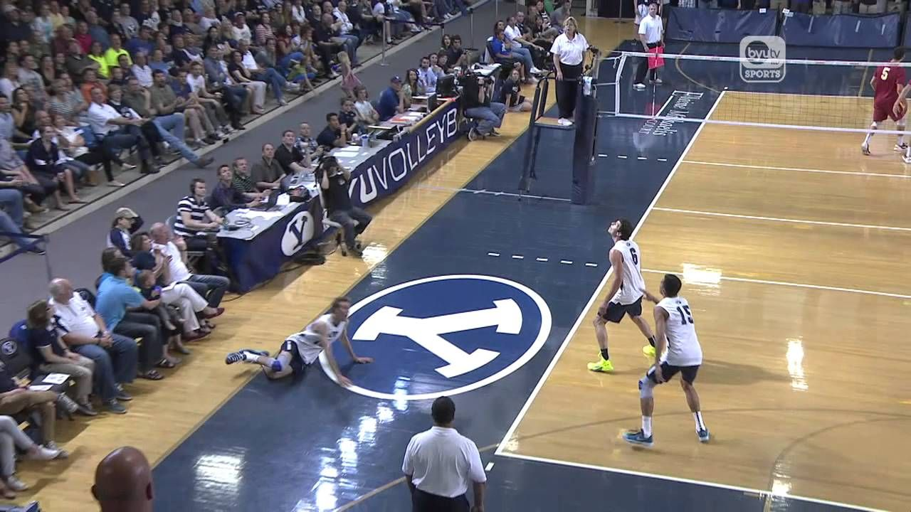 Men S Volleyball Not Top Play Mpsf Quarterfinal Usc Vs Byu Tied 6 6 In The 3rd Set Usc Serves And Thinks They Get An Ace Mens Volleyball Volleyball Men