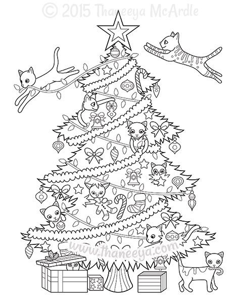 Christmas Tree Cats Coloring Page By Thaneeya Christmas Coloring Books Christmas Tree Coloring Page Tree Coloring Page