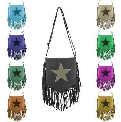 Photo of Italian Women's Star Bag Fringes Suede Shoulder Bag Crossover  | eBay