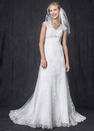 Cap Sleeve Lace Over Satin Gown With Illusion Back Davids