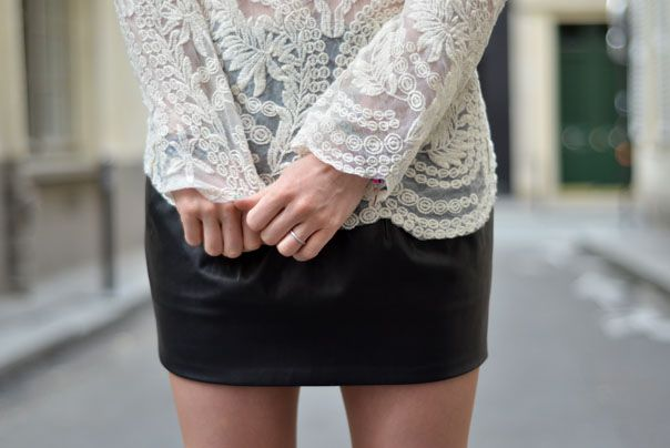 Leather and lace, black and white