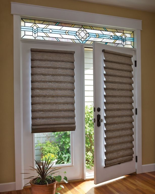 Roman shade on french door with stained glass french for Door window shades blinds