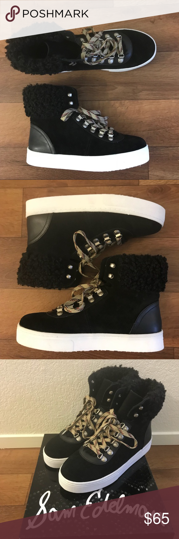 a84589207cff SAM EDELMAN Luther Faux Shearling High Top 🆕 Sam Edelman Luther Faux  Shearling High Top