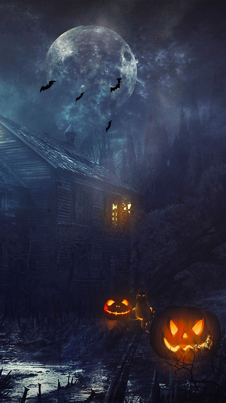 Tap And Get The Free App Holidays Halloween Lights Gloomy Scary Cat Grey Night Bat Pumpkin Halloween Wallpaper Iphone Halloween Wallpaper Pumpkin Wallpaper
