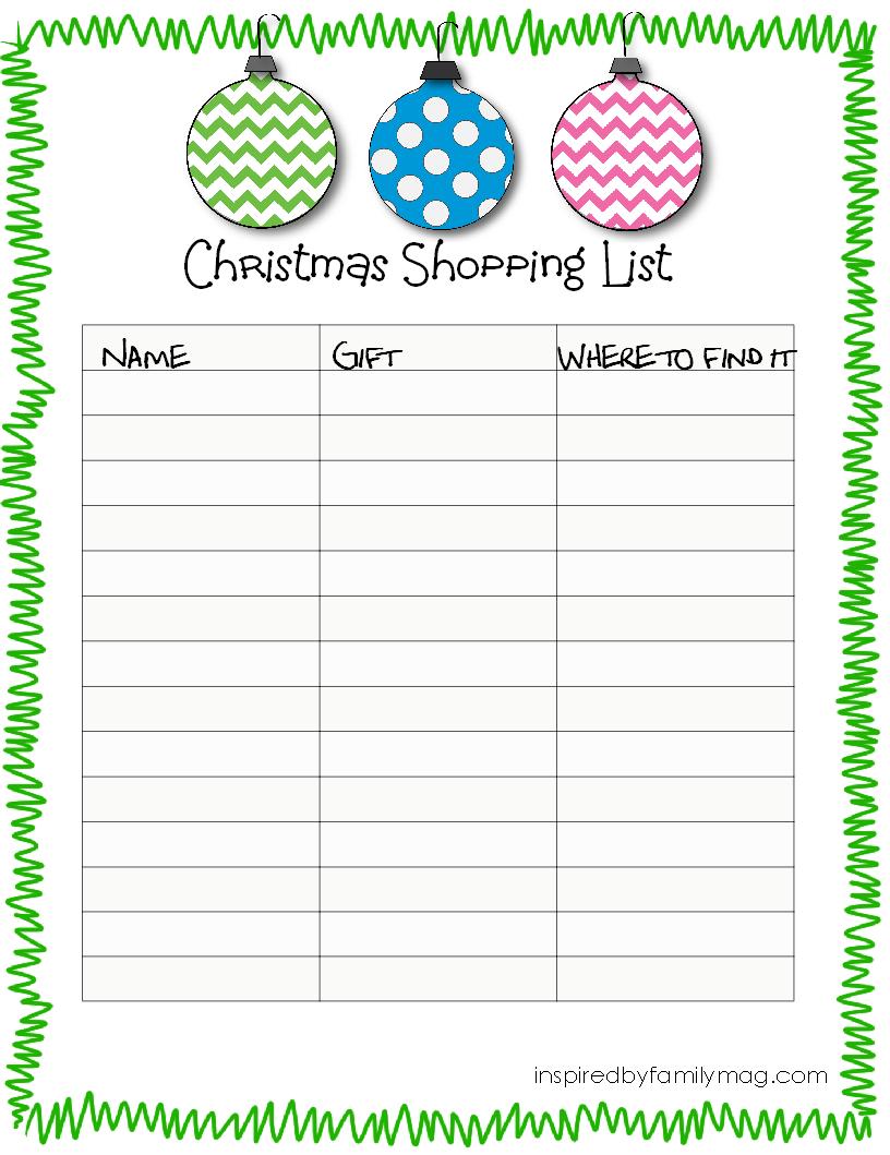 Free Printable Christmas Lists template letter of resignation from – Free Christmas List Template