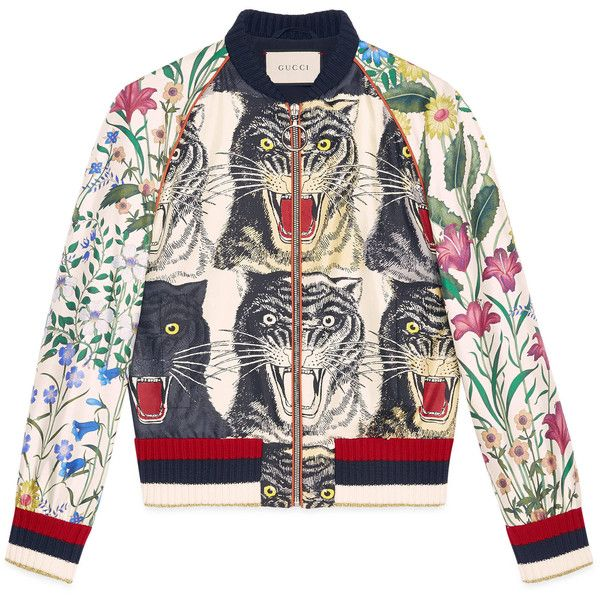Gucci Patchwork Print Silk Bomber found on Polyvore featuring outerwear,  jackets, outerwear & leather