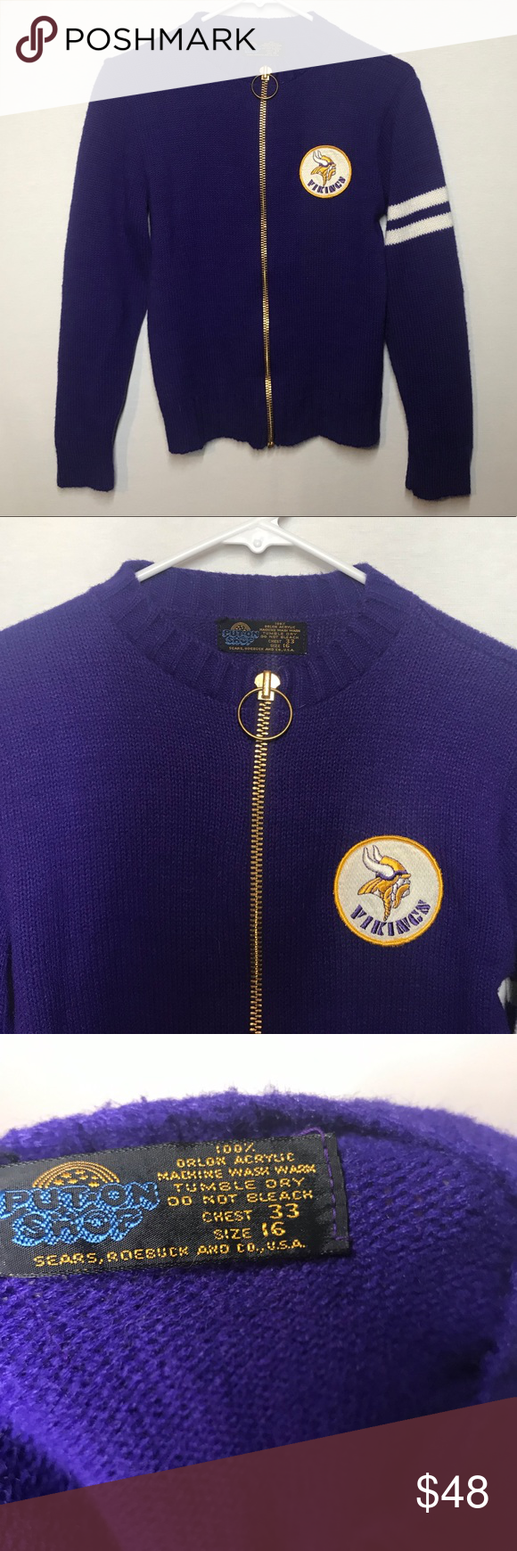 cheap for discount 1642b 1ca0c Vintage Sears Put-On Shop Vikings football Sweater Such a ...