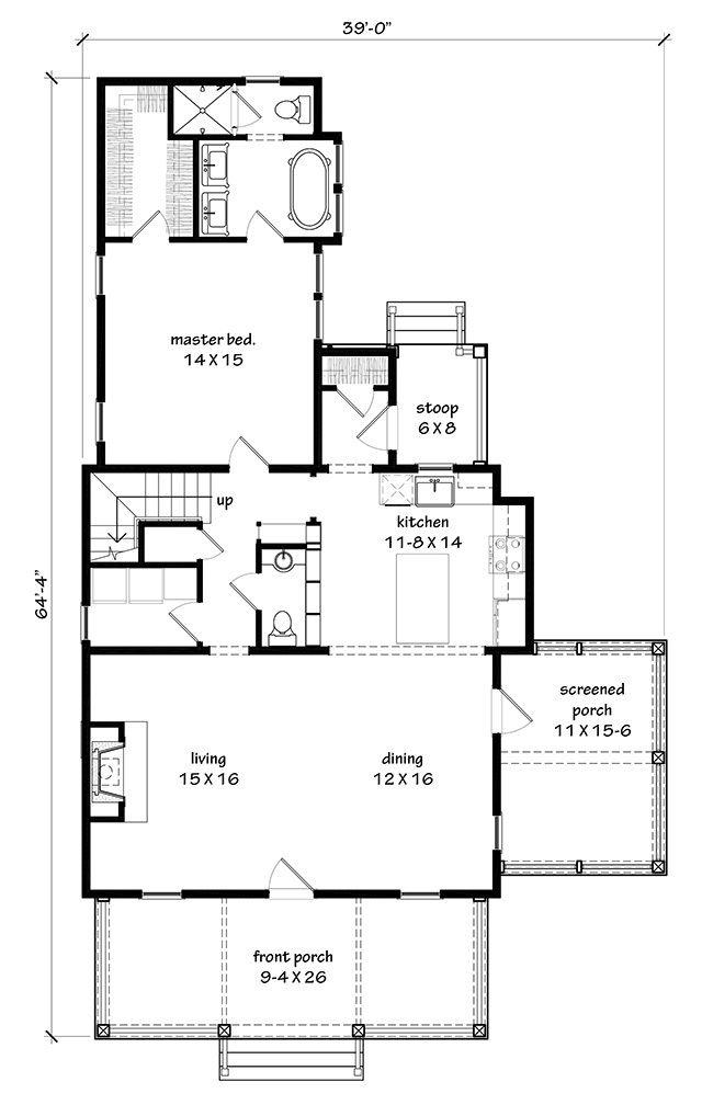 Main Level Floor Plan Farmhouse Pinterest House, Living rooms
