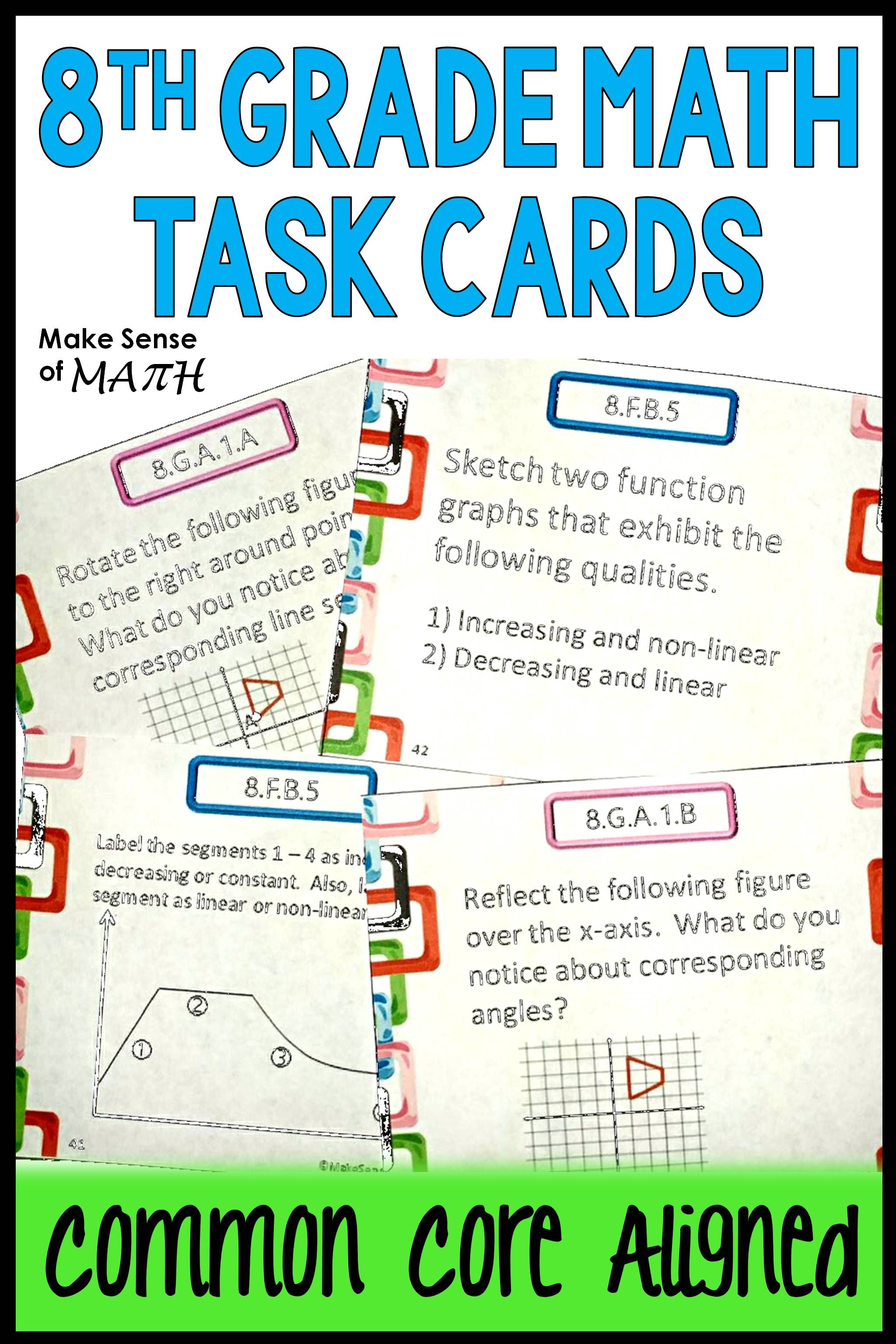 8th Grade Math Common Core Standards Task Cards