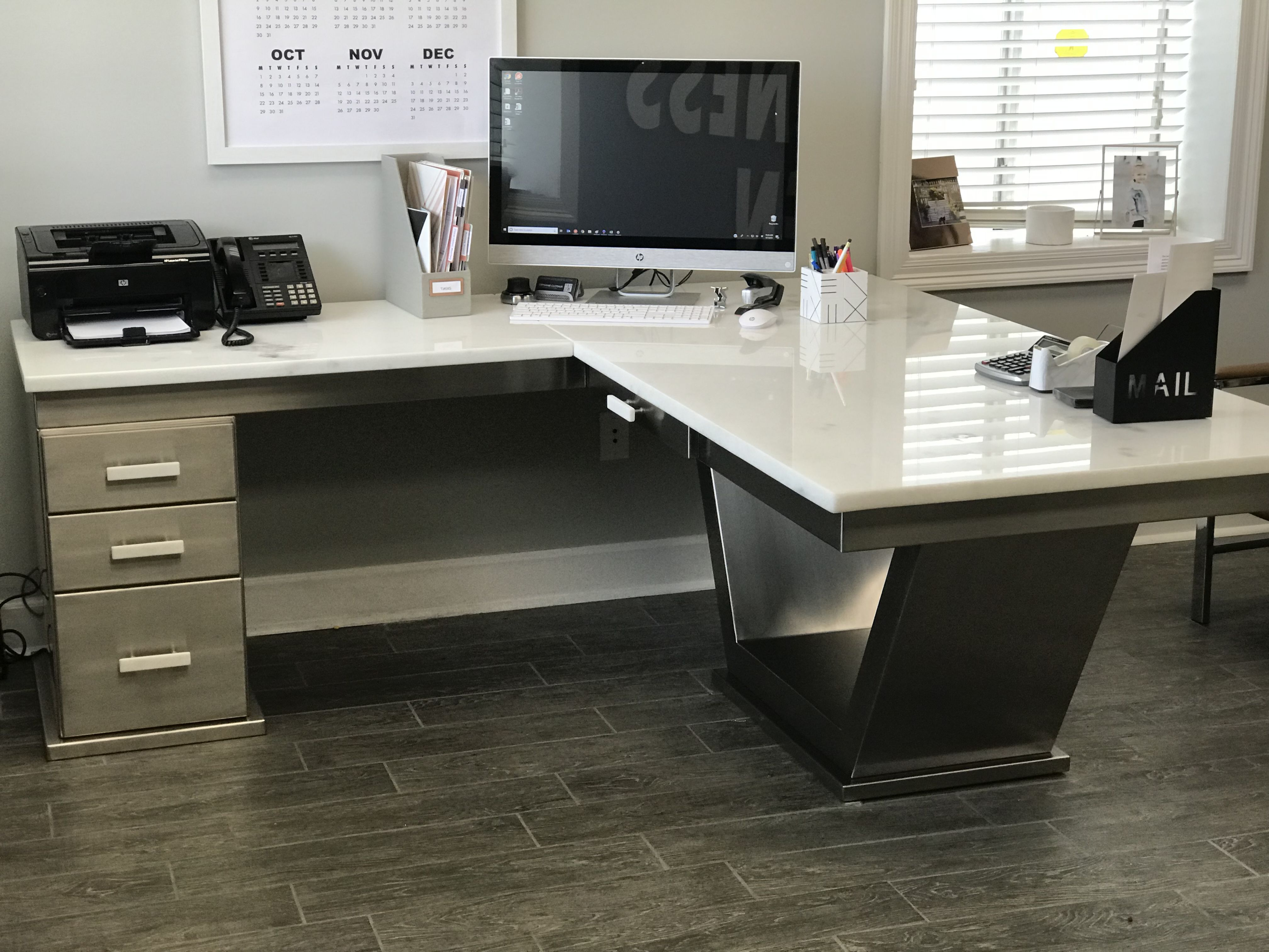 Custom Stainless Office Desk With Marble Top Www Leadingedgemfg Com Executive Office Design Custom Office Furniture Marble Office Desk