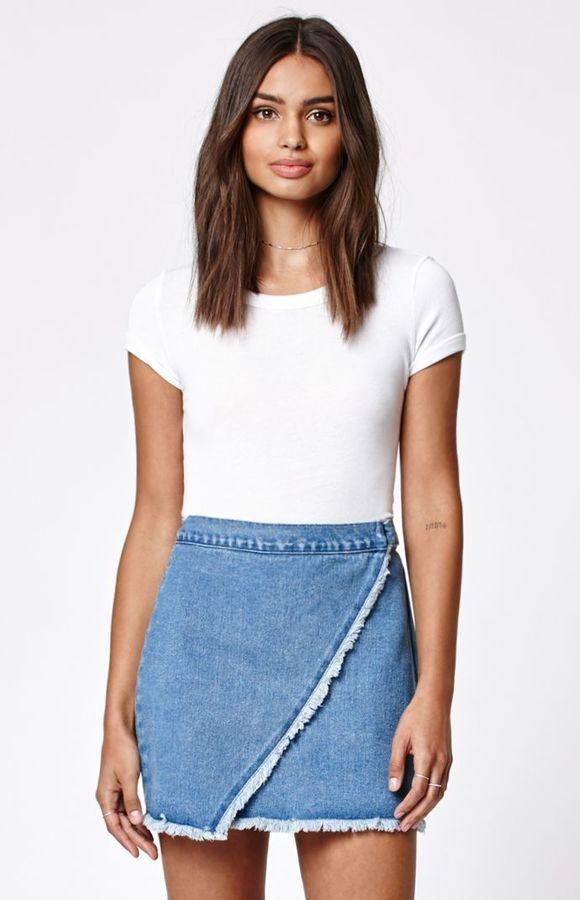 Kendall Amp Kylie Wrap Fringed Denim Skirt Denim Wrap