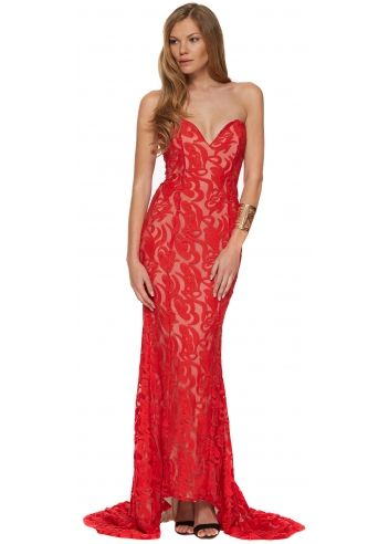 2c900fa88413 Portia & Scarlett Red & Nude Lace Bustier S&N Evening Dress With Long Train