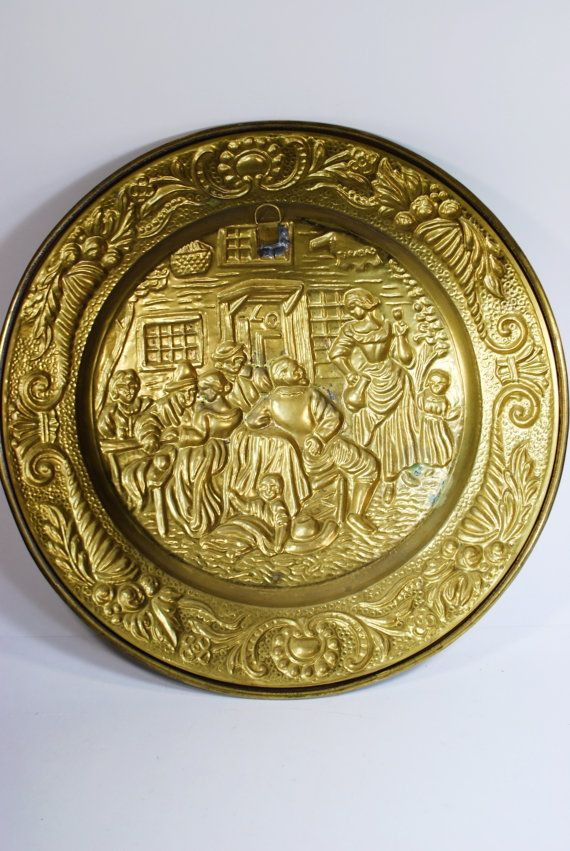 14 Inch Wide Vintage Decorative Brass Plate Plaque With Tavern Scene ...