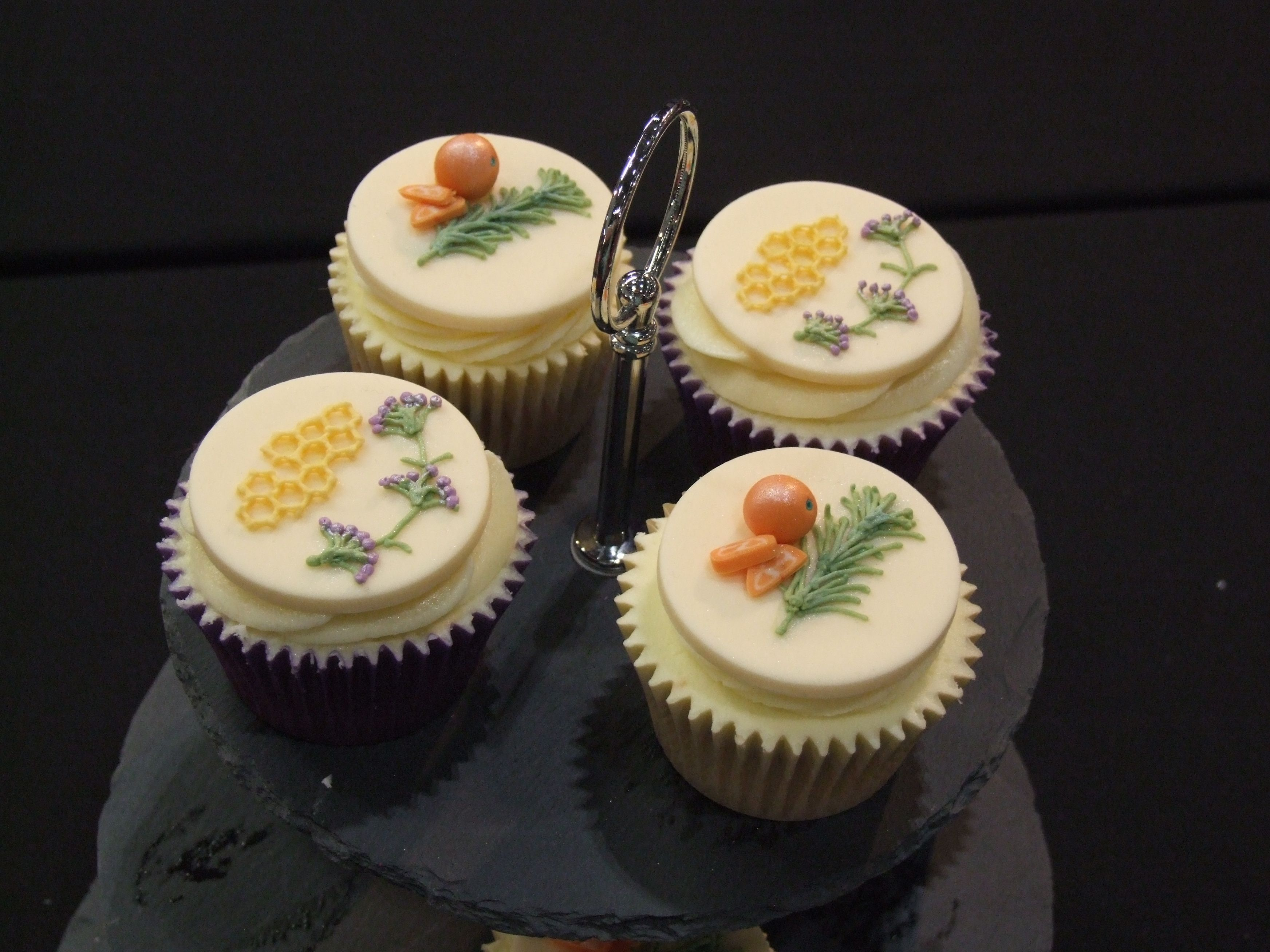 Lavender & Honey Gluten Free cupcakes and Rosemary & Orange Gluten Free cupcakes. Won Gold at Cake International, London 2014