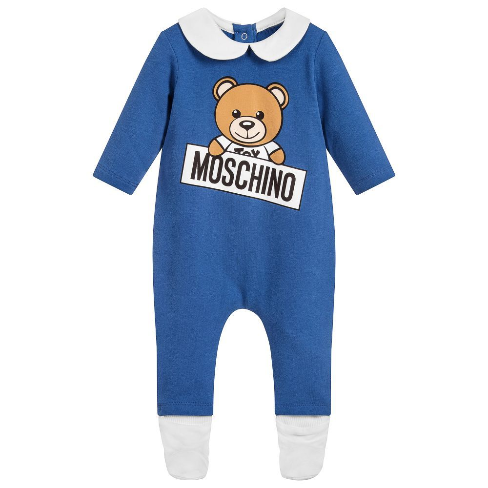 befe76af7 Moschino Baby Blue Cotton Babysuit Gift Set. Shop from an exclusive ...