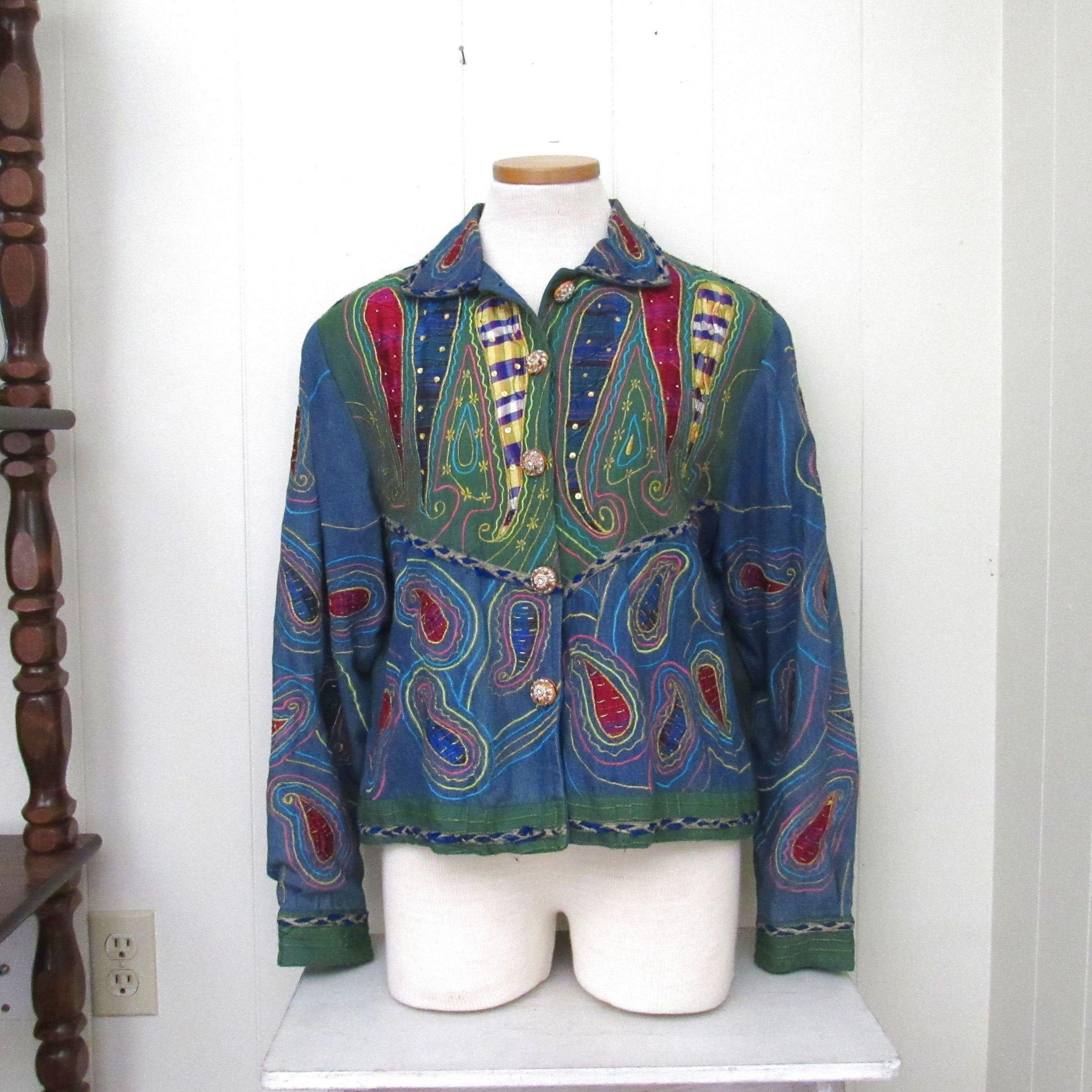 80s Vintage Jacket Black Beaded Designer Blouse