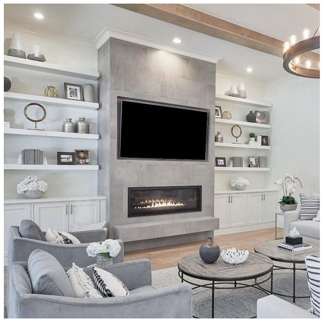 33 Stunning Modern Fireplace Design Ideas With Tv Above Tv Lounge Ideas Design Tvloungeidea In 2020 Built In Shelves Living Room Fireplace Design Modern Fireplace