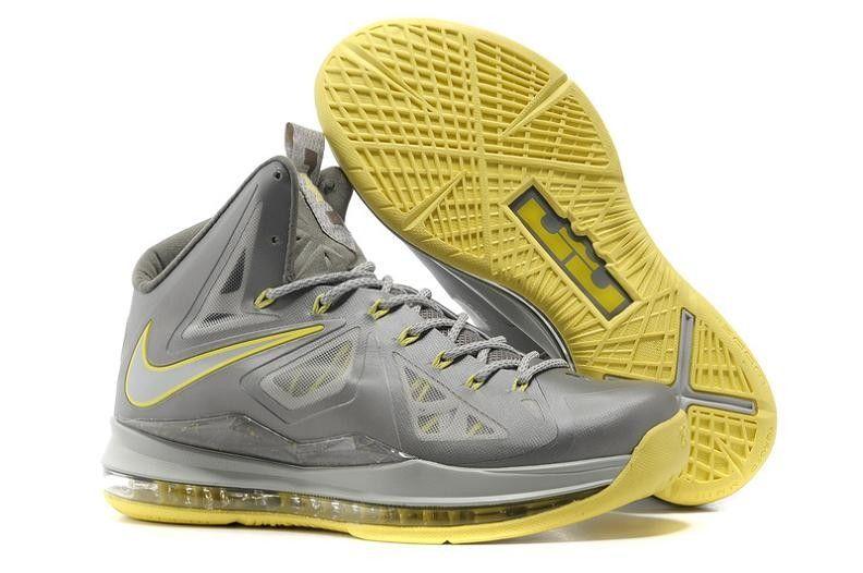 Nike LeBron X + Men's Basketball Shoe 598360 007 Grey/Yellow