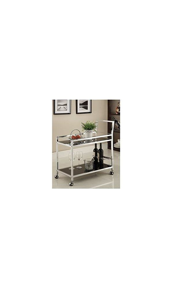 Chrome Metal Bar Tea Serving Cart With Black Tempered Gl Deal Price 69 99 From