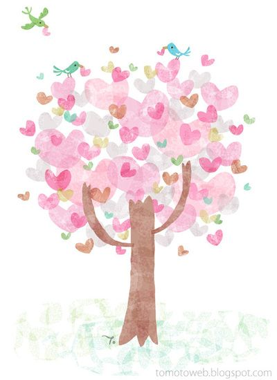 Arbre rose et coeur en fête