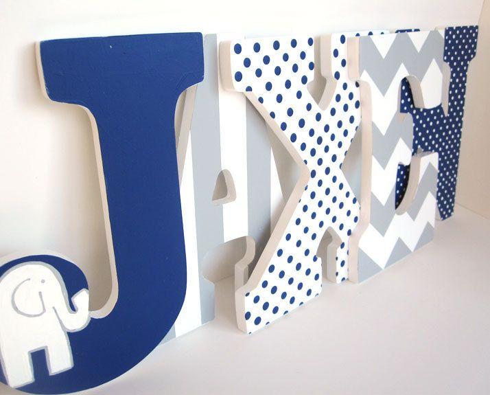 Navy Blue Elephant and Grey Chevron Letters Boy Nursery Wall