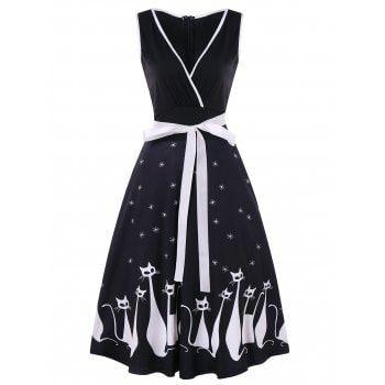 69c41a77a9d ... 2018 Retro Cat Print Midi Pin Up Dress BLACK L under  23.33 in Print  Dresses online store. Best Batwing Dress and Dress Skirt for sale at  Dresslily.com.