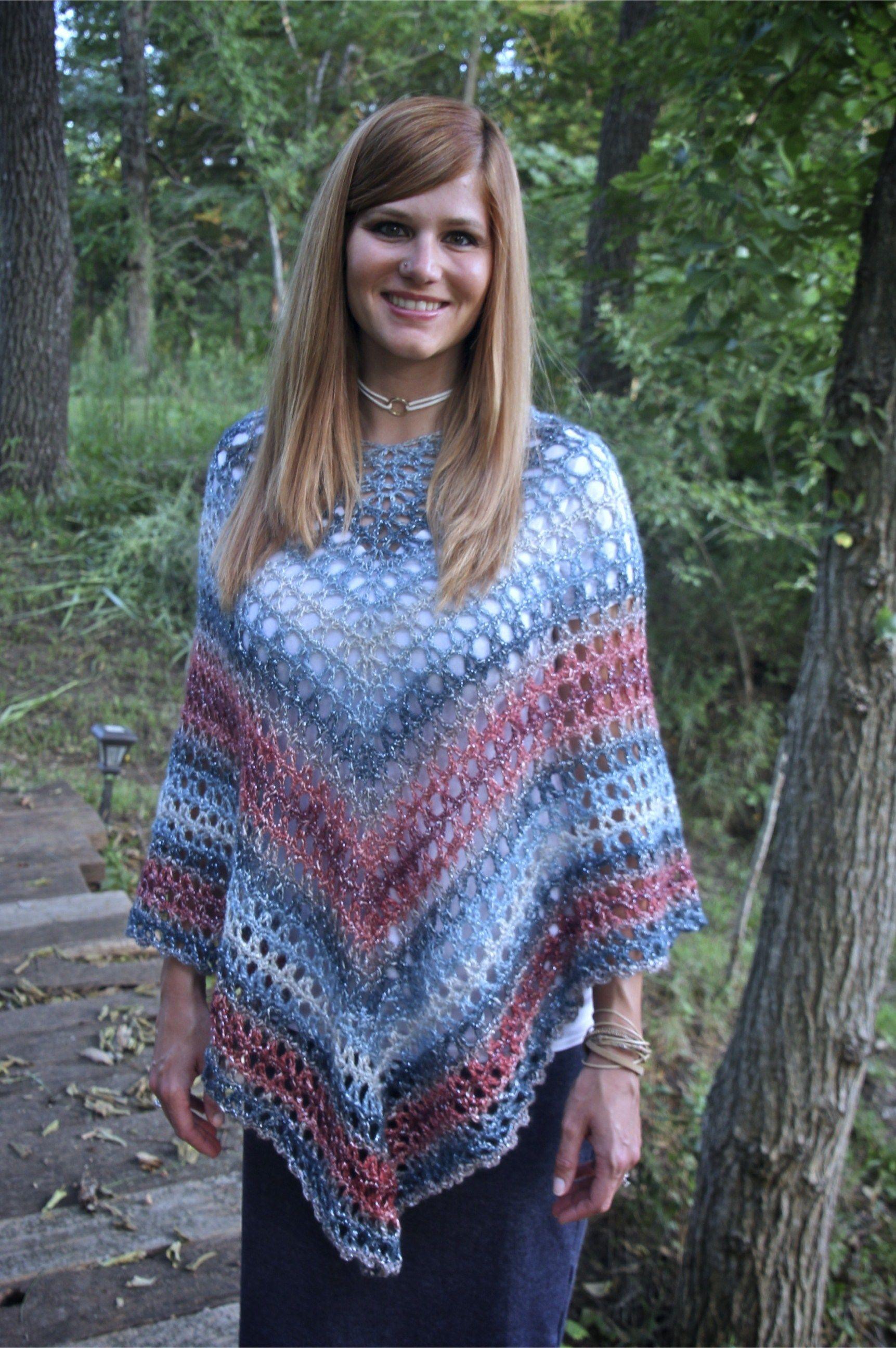Midnight Madness Poncho Free Crochet Pattern Lion Brand Shawl in a Ball - Nana's Crafty Home