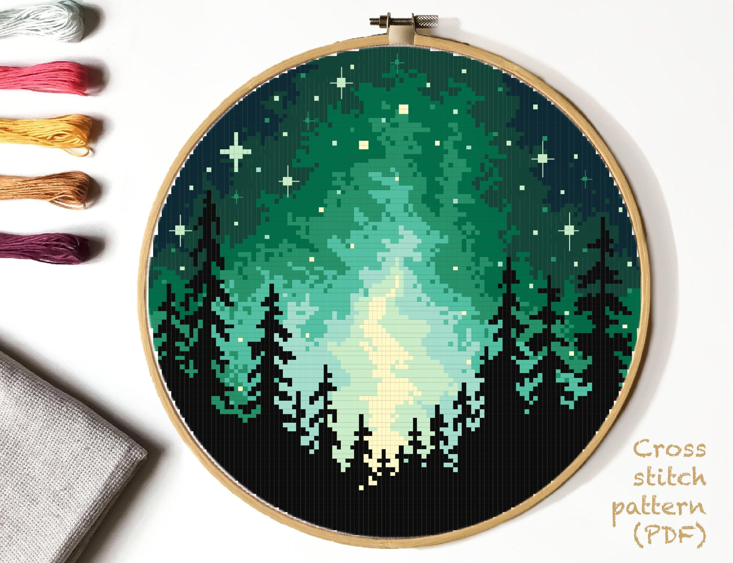 Photo of Landscape Modern Cross Stitch Pattern, forest counted cross stitch chart, starry sky cross stitch,  hoop art, embroidery, instant PDF