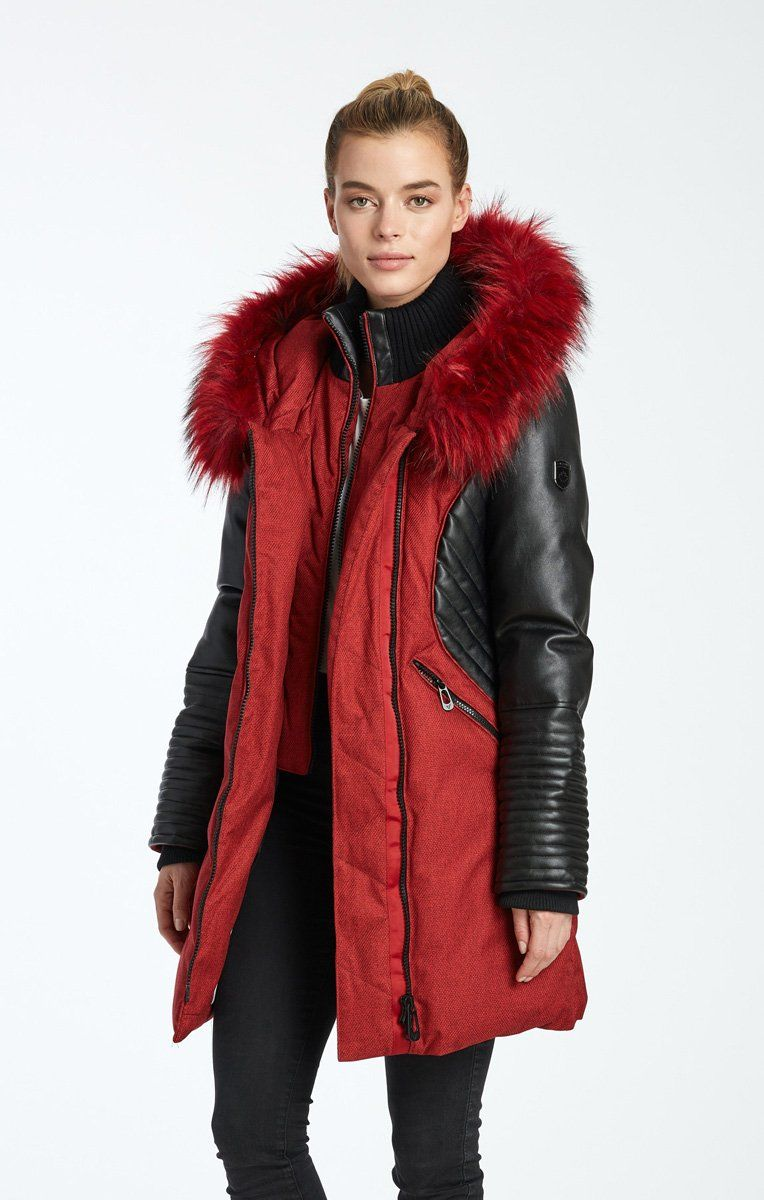 Sam Long Length Jacket With Vegan Leather Sleeves Noize Original Stylish Outerwear Outerwear Winter Outerwear [ 1200 x 764 Pixel ]
