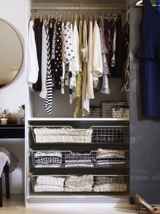 """PAX wardrobes help you solve the age-old problem of """"nothing to wear"""". They help you to neatly organize your clothes, so you'll see at a glance exactly what you have."""