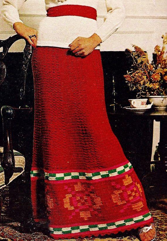 DIY Peruvian Bordered Long Skirt PDF Vintage Crochet Pattern