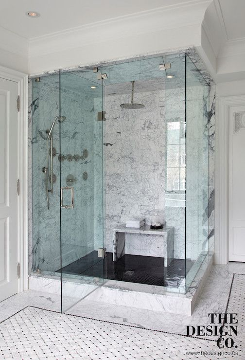 Marble waterfall shower bench contemporary bathroom the for Waterfall tile design