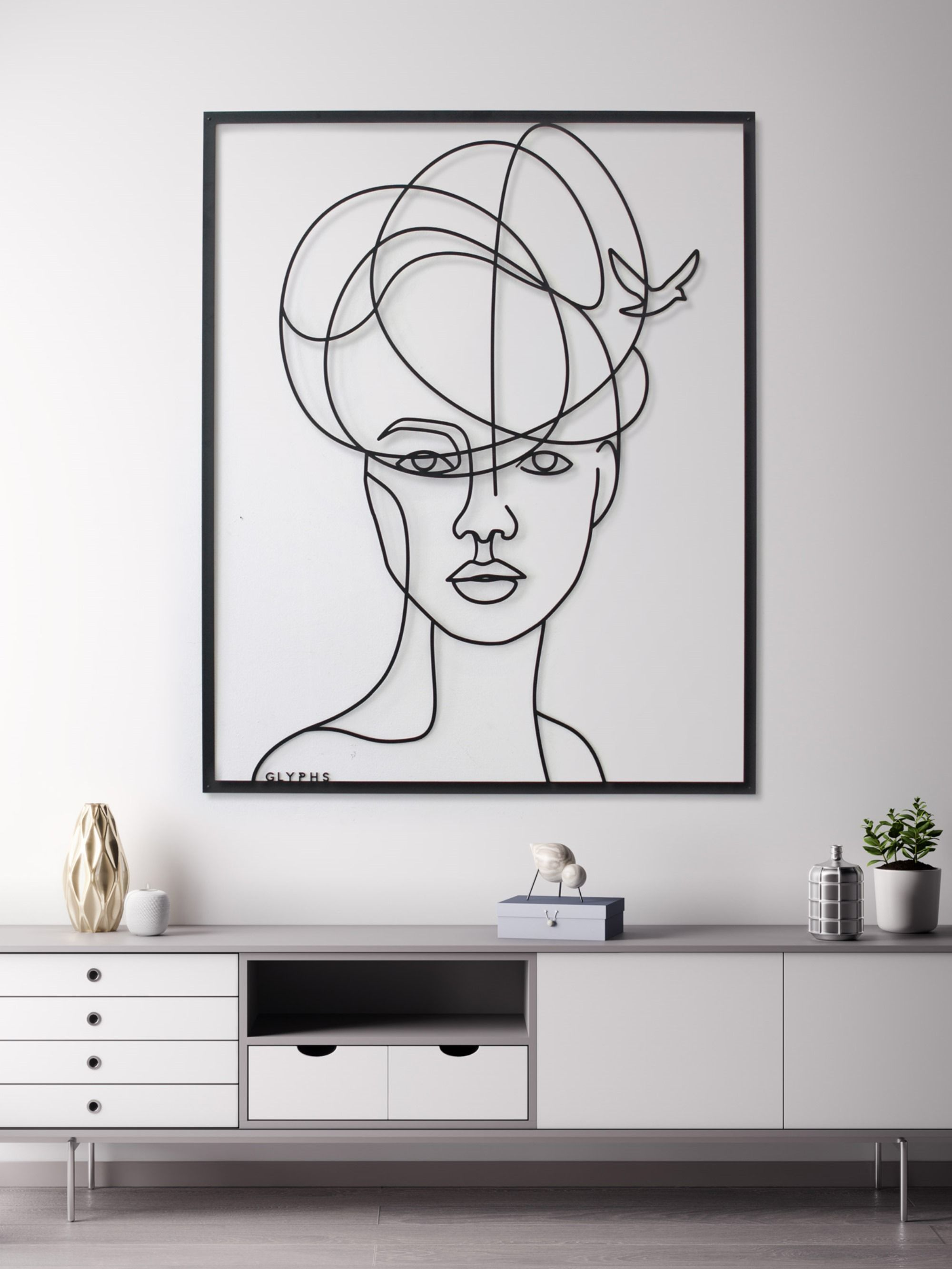 Free Hand Illustration Turned Into Metal Wall Art By Glyphs Design Hand Illustration Art Line Art