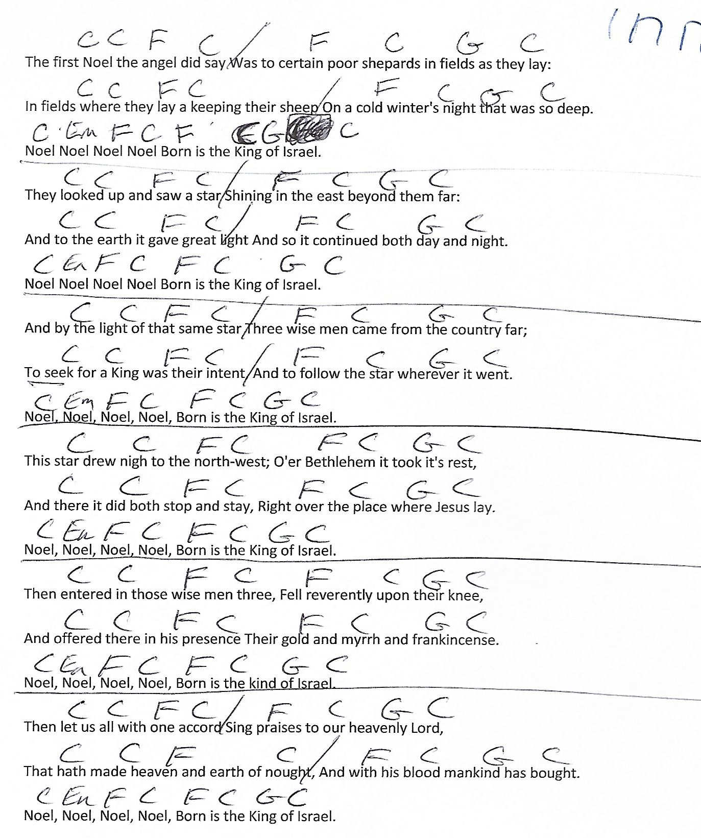 The First Noel (Christmas) Guitar Chord Chart with Lyrics