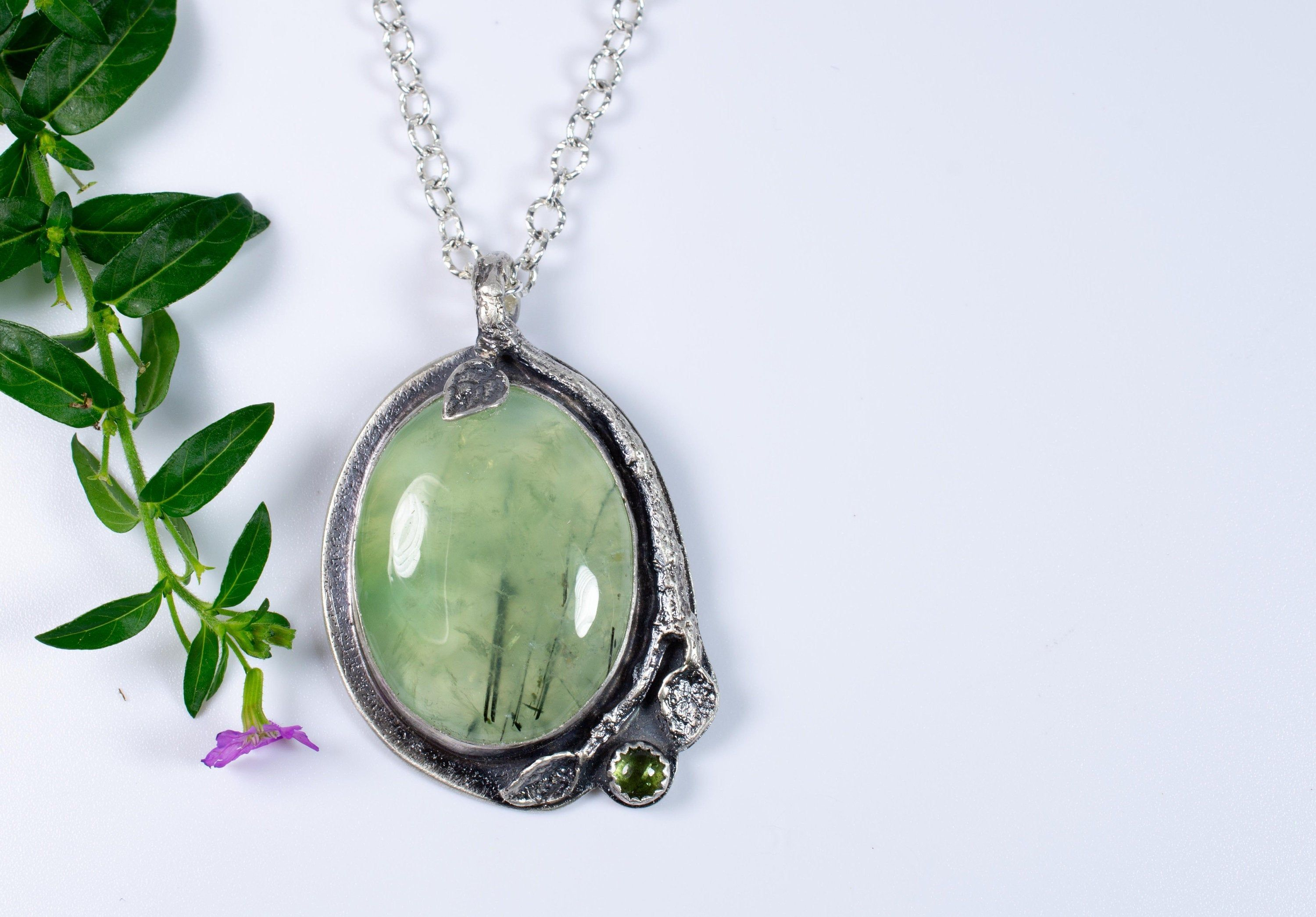 Natural 65/'/' Prehnite Necklace  Long necklace