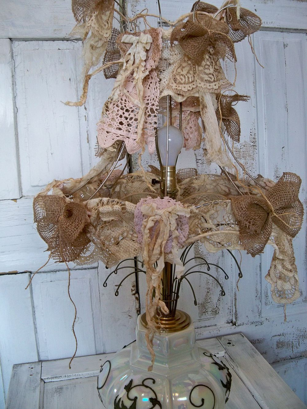Farmhouse handmade lamp shade fabric shabby chic burlap tattered OOAK Anita Spero(price cut on this item thru June 10th.)