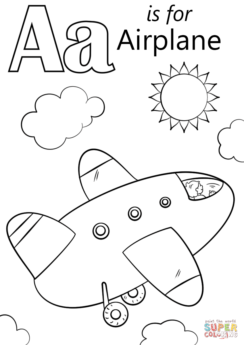 Letter a is for airplane coloring page from letter a category