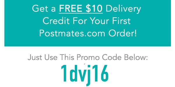 Postmates Promo Code Free 10 Delivery Credit R Food Coding Promo Codes Recipe Images