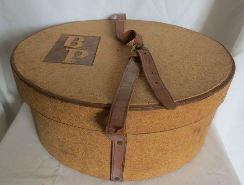 Antique Vtg Travel Oval Cork Hat Box Train Case Leather Strap Advertised 1937 Hat Boxes Vintage Hat Boxes Hat Box