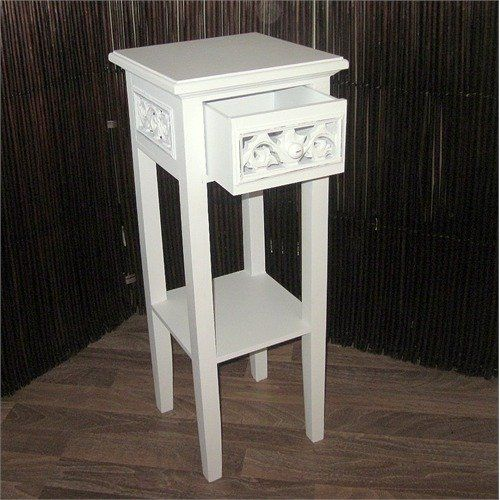 Design Telephone Table Country Side Style White Washed Wood From